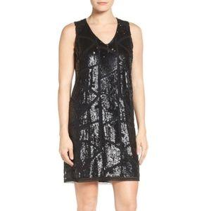 Women's Halogen Sequin Black Shift Dress Sz Small